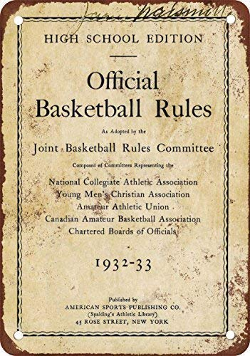 SRRY 1932 Official Basketball Rules Vintage Look Reproduction Metal Tin Sign 7.8