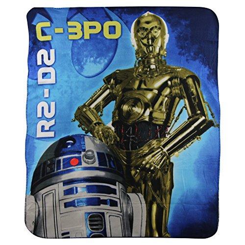 S.L. Home Fashions Star Wars C-3PO & R2-D2 Kids Character lightweight Fleece Throw Blanket ()
