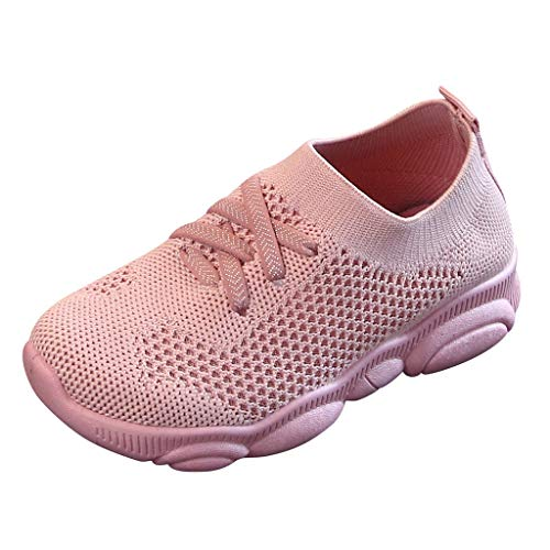 Sherostore ♡ Kids Lightweight Knit Shoes Boys Girls Slip on Walking Sneakers Pink