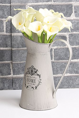 Artificial Flowers Nearly Natural Calla Lily Bridal Wedding Bouquet (20, White)