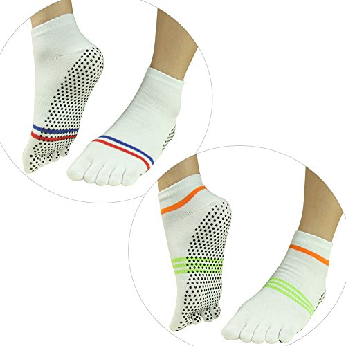 015 Barre 2 amp;Men Ankle J'colour Gripes Yoga Slip Pairs Women Different Socks Pilates Stripes Athletic Socks Non 2 White Sports for w6BZ6qOX