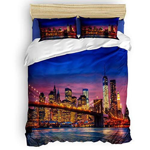 Home Bedding 4 Piece Set Full Size Include Duvet Cover, Flat Sheet, Pillow Shams Brooklyn City Night View Printing Soft Duvet Cover Set for Children/Adults/Teen]()