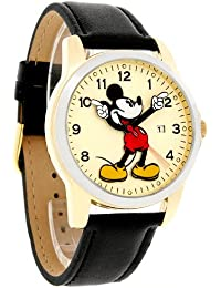 amazon com disney watches men clothing shoes jewelry disney mickey mouse men s motion hands two tone black leather band watch mck647
