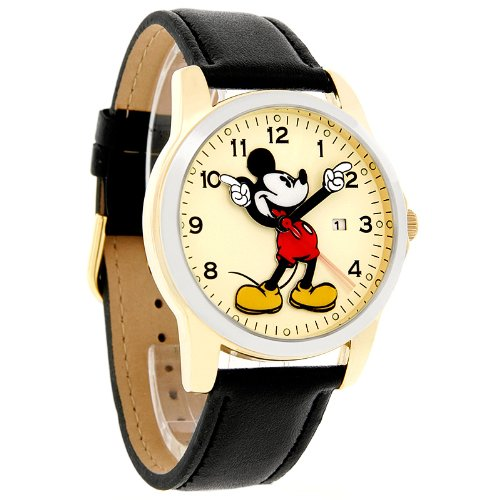 Disney Mickey Mouse Men's Motion Hands Two Tone Black Leather Band Watch MCK647