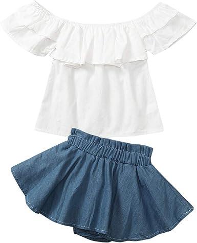 Toddler Girls Clothes Set Off Shoulder Ruffled Denim Skirt Casual Summer Outfit 2PCS