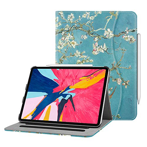 Fintie Case for iPad Pro 11 2018 [Supports 2nd Gen Pencil Charging Mode] - Multi Angle Viewing Folio Cover with Pocket [Secure Pencil Holder] Auto Sleep/Wake for iPad Pro 11 2018, Blossom