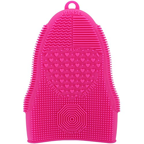 (ScivoKaval Makeup Brush Cleaner Glove Mat Mitt Silicone Cosmetic Cleaning Scrubber Tool Face Brushes and Eye Brush Washing Pad Pink (Rose Red))