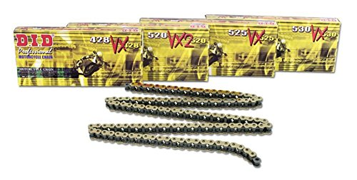 - DID Chain 525 VX 112 Links X-Ring (gold), open, with rivet link.