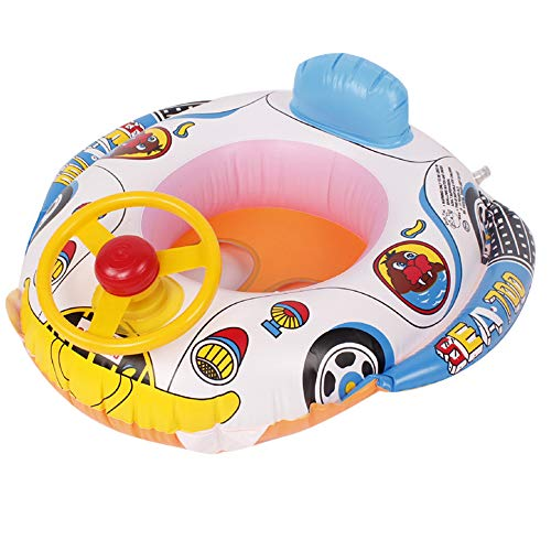 (Aviat Inflatable Swimming Swim Raft Water Car Ring Poolstability Fun for Baby Kids (Multicolor))