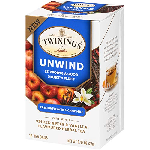 Amazon Com Twinings Of London Daily Wellness Tea Unwind Sleep Supporting Passionflower Camomile Spiced Apple Vanilla Flavored Herbal Tea 18 Count Pack Of 6 Grocery Gourmet Food