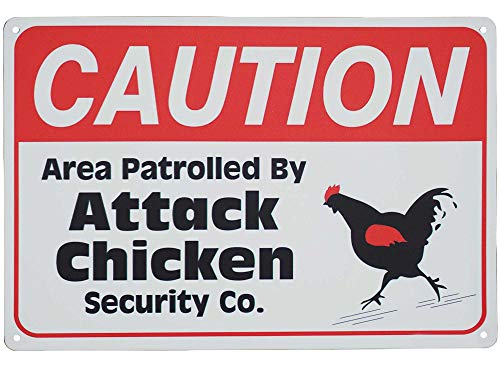 (Monifith Funny Rooster Crossing Sign Caution Area Patrolled by Chicken Sign Road Street Signs 8X12 Inch)