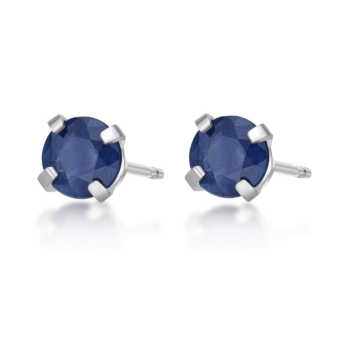 Round 4MM Genuine Gemstone 14K White Gold Stud Birthstone Earrings