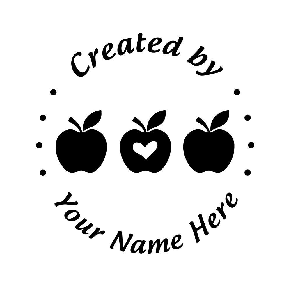 Apples Leaf Created by Stamp Personalized Self Inking Custom Heart Shape Pattern Rubber Stamper