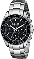 SO & CO New York Men's 5010B.1 Monticello Stainless Steel Day and Date Tachymeter Watch