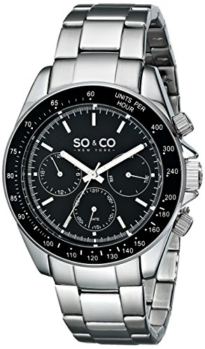 SO&CO New York Men's 5010B.1 Monticello Stainless Steel Day and Date Tachymeter Stainless Steel Link Bracelet (Date Tachymeter)