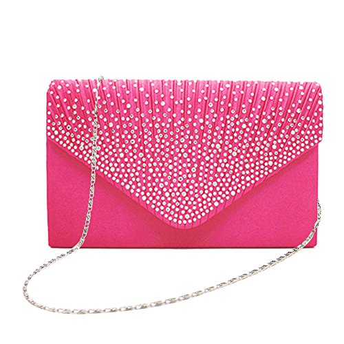 Frosted Handbag Evening Women Envelope Rosy Rhinestone Party Bridal Purse Clutch Pink wPRUa