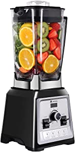 68 OZ Professional Countertop Blender, 1450W Kitchen Cooking Blender with Display, BPA Free Jar, 8-Speed Settings for Smoothie Ice and Frozen Fruit, Black, Stainless Steel