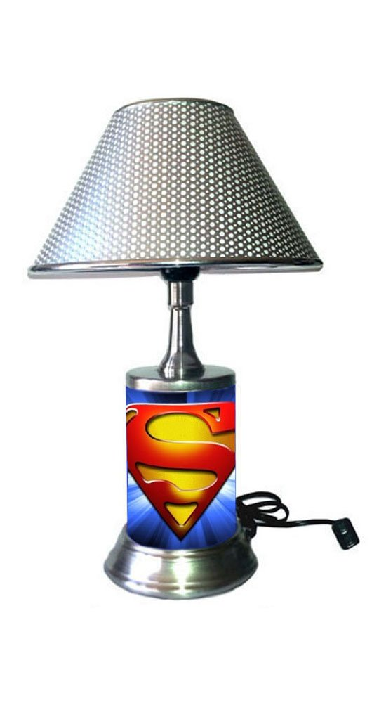 JS Superman Symbol Lamp with Chrome Shade, Logo