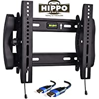 HIPPO HP8019 TV Wall Mount Tilting Bracket for Most 15- 37 LED LCD Plasma Flat Screen TVs up to 100 Lbs VESA up to 300x300 mm, ±10 Degree Tilt , Security Lock, 5 ft Braided HDMI Cable