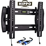 HIPPO TV Wall Mount Tilting Bracket for Most 15'' 17'' 19'' 20'' 22'' 23'' LED LCD Plasma Flat Screen TVs up to 100 Lbs VESA up to 300x300 Security Lock 5 ft HDMI Cable