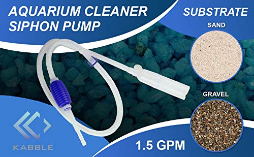Kabble Genuine Aquarium Cleaner Siphon Pump/Aquarium Cleaner/Aquarium Fish Tank Gravel Sand Cleaner/Fish Aquarium Vacuum Filter Cleaner - with Long Nozzle and Water Flow Controller - BPA Free