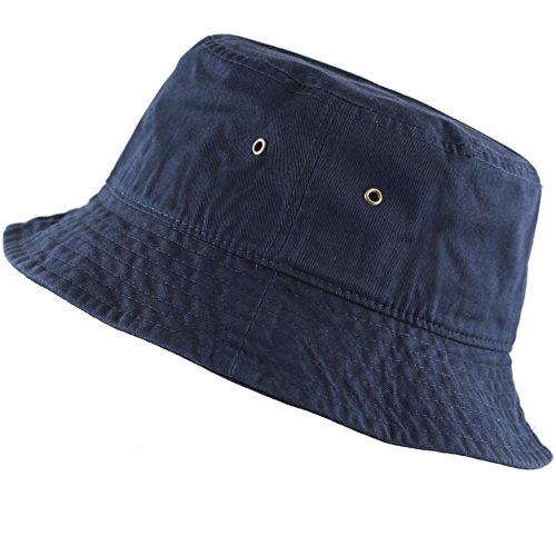 The Hat Depot 300N Unisex 100% Cotton Packable Summer Travel Bucket Hat (S/M, Navy)