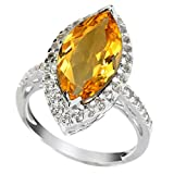 psychic ring - Sterling Silver 3.00ct Citrine and White Topaz Marquise Halo Ring