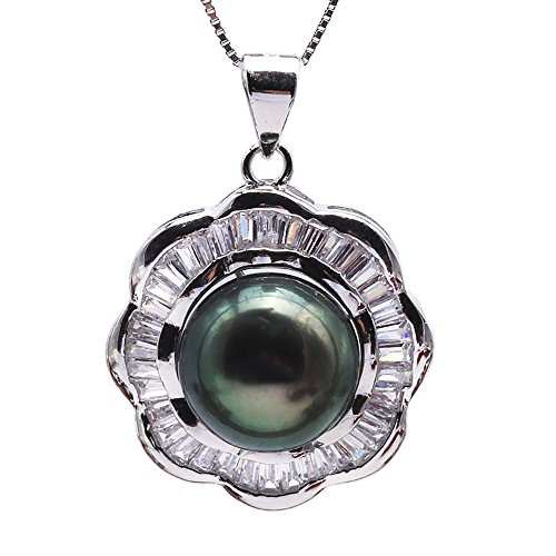 JYX Black Pearl Necklace Pendant AAA Quality 11.5mm Round Peacock Green Tahitian Cultured Pearl Pendant Necklace 18'' Aaa Black Pearl Pendant