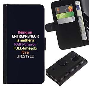 Paccase / Billetera de Cuero Caso del tirón Titular de la tarjeta Carcasa Funda para - entrepreneur purple lifestyle business - Samsung Galaxy S5 V SM-G900