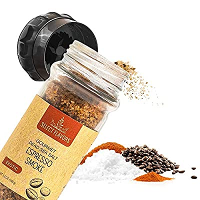 Select Flavors Exotic Seasoning Espresso Smoke Flavored Salt Seasoning 3.5 oz Grinder Top