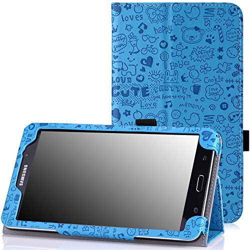 MoKo Samsung Galaxy Tab 4 7.0 Case - Slim Folding Cover Case Stand, Cutie Charm BLUE (Compatible with Tab 5 7.0 2015 Tablet, NOT Fit Samsung Galaxy Tab 3 7.0)