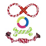COOLA Fun, Durable Dog Toy Set from Includes Braided Bone, Chew Rings, Tug Rope and Rubber Gear Toy. Interactive Toys for Play, Exercise, Training for Small & Medium Dogs & Puppies (4 Pack) …