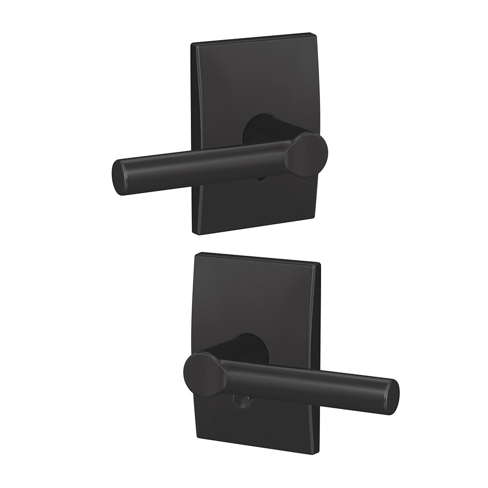 Matte Black Schlage Custom FC21 BRW 622 KIN Broadway Lever with Kinsler Trim Hall-Closet and Bed-Bath Lock