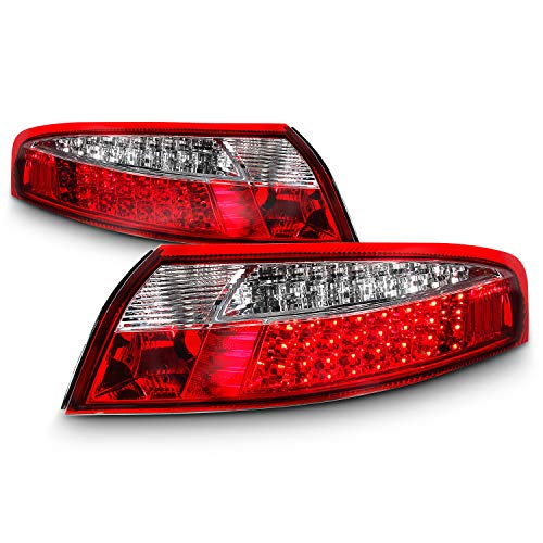 (For 1998-2004 Porsche 911 996 Carrera GT Turbo Red Clear Lens Full LED Tail Brake Light Lamp)