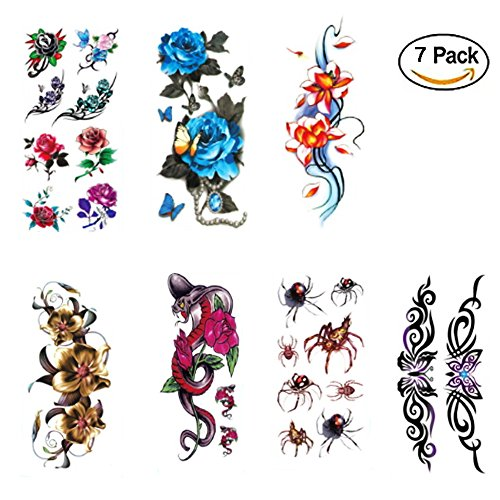 3D Temporary Tattoos Colorful Flower Animals Design Sexy Body Stickers Waterproof 7sheet for Arms Leg Beast Back etc. (1) ()