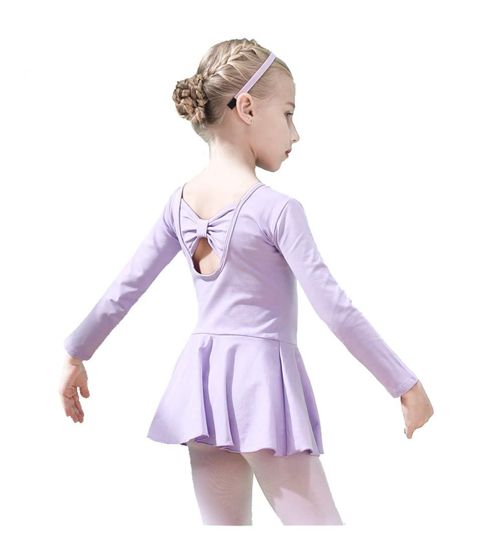 UyuGo Girl's Leotards, Girls Gymnastics Dance Skirt Ballet Leotard Long Sleeve Back Bowknot Dress (Purple, 110cm for 3-4 Years)