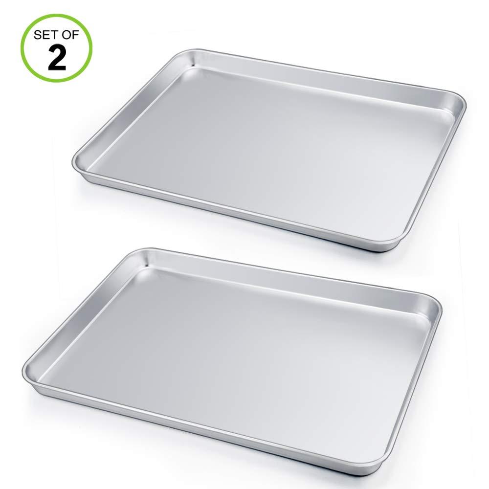 Rectangle 19.6x13.6x1.2 Stainless Steel Large Bakeware Cookie Sheet Baking Pan P/&P CHEF Extra Large Baking Sheet Set of 2 Heavy Duty /& Large Capacity Oven /& Dishwasher Safe