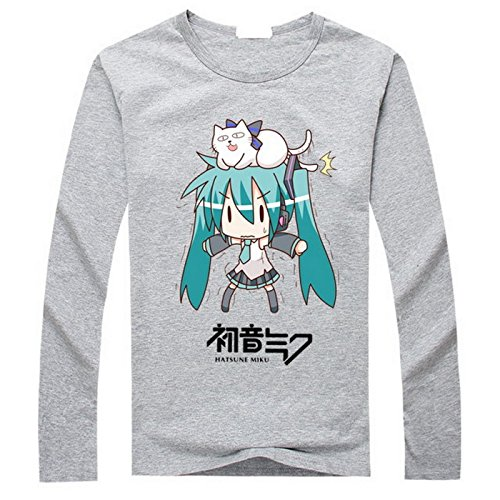 New VOCALOID 2 Miku Hatsune Costume Anime Long Sleeves Tee T-Shirt (M, Grey)