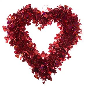 Red Tinsel Heart Wreath Decor Gift Idea Home Decoration Keepsake 13