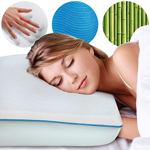 SHARPER IMAGE Memory Foam Pillow with Molded Cooling Blue Gel Layer, Special Cooling Technology and Medium Support Visco Elastic Core