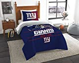 2pc NFL New York Giants Twin Comforter and Pillow Sham Set Football Team Helmet Bedding