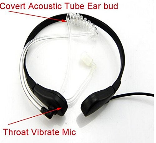 2 X Throat Microphone Covert Acoustic Tube Earpiece Headset Ptt Compatible For Cobra 1-pin MD200TPR MH230R MR350R MS350R MT350R MG160A MH230TPR Motorola Talkabout T5420 T6200 Xtl446 2 Pack FANVERIM DZMIHKM600