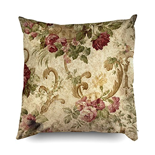 TOMWISH Hidden Zippered Pillowcase Vintage Tapestry Mauve Beige Green 18X18Inch,Decorative Throw Custom Cotton Pillow Case Cushion Cover for Home Sofas,bedrooms,Offices,and More