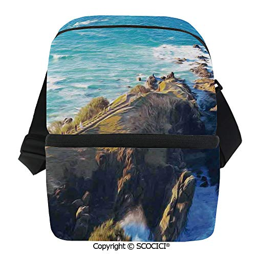 SCOCICI Thermal Insulation Bag Aerial View of Australien Cliffs by The Sea with Waves Scary High Destination of Nature Lunch Bag Organizer for Women Men Girls Work School Office Outdoor]()