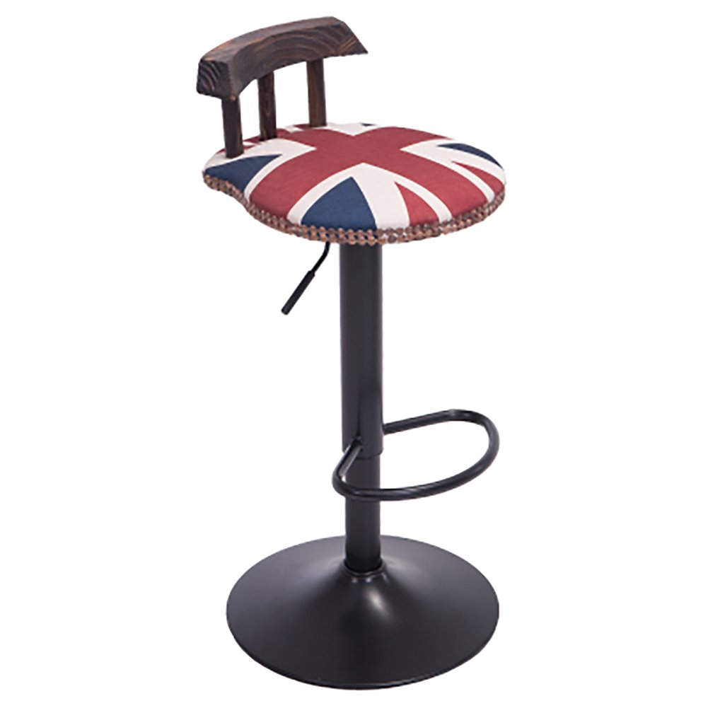 1 60cm-80cm Retro Adjustable Height Bar Stool,American Style High Stool,360 Degree redation,Work Stool, Beauty Roller Stool,Backrest Chair (color   Brown, Size   60cm-80cm)