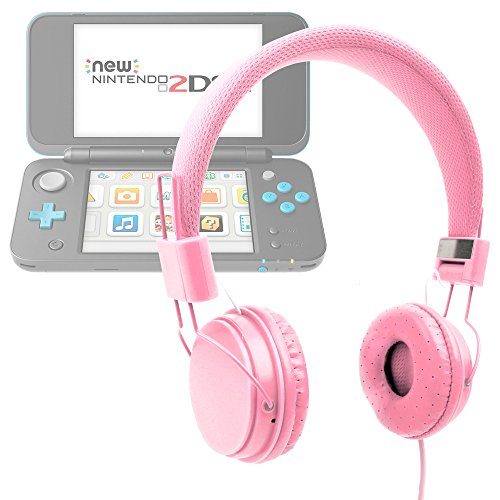 Price comparison product image DURAGADGET Pink Ultra-Stylish Kids Fashion Headphones For Nintendo 2DS XL / Nintendo 3DS XL - With Padded Design, Button Remote And Microphone