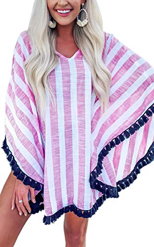 (CinShein Women's Summer Casual Striped V-Neck Batwing Cover Up Blouse Top Tassel Loose Shirt 215 Pink M)