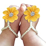 DZT1968 Baby Girl Pearl Chiffon Foot Flower Shoes Barefoot Sandals (Yellow)
