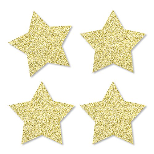 Gold Glitter Star - No-Mess Real Gold Glitter Cut-Outs - Party Confetti - Set of -