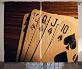 Poker Tournament Decorations Curtains by Ambesonne, Damaged Old Cards on Wooden Table Close Up Leisure Image, Living Room Bedroom Window Drapes 2 Panel Set, 108 W X 63 L Inches, Brown Black Blue